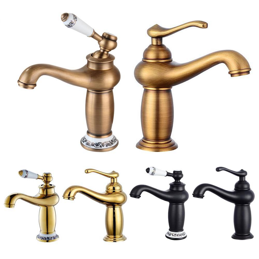 Bathroom Faucet Antique Bronze Finish Brass Basin Sink Solid Brass Faucets Single Handle Water Mixer Taps Bath Crane  ELFCT001 2