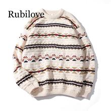 Rubilove Autumn and Winter 2019 New women's Korean Geometric Pattern Embroidery Long-sleeve Oversized Loose Round Neck Knitted S цена 2017