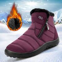 Botas femininas 2020 quente de pelúcia senhoras sapatos mulher botas de inverno mulheres botas de tornozelo à prova dwaterproof água sapatos femininos zíper lateral mais tamanho
