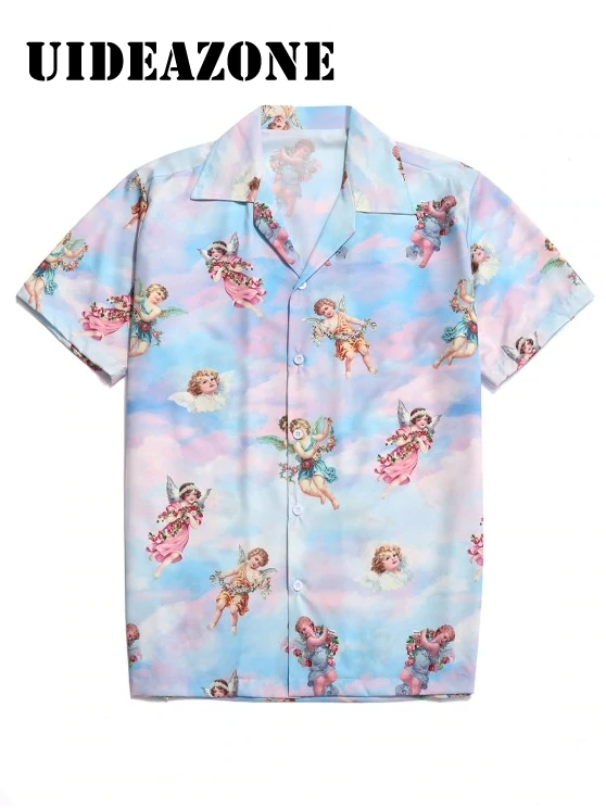 2020 Summer Angel Print Button Men Shirt Short Sleeves Turn Down Collar Vacation Beach Hawaiian Shirt Male Shirt Lemon Clothing