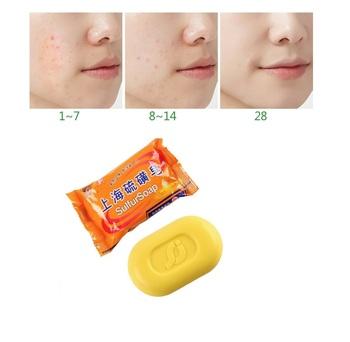 Shanghai siarka mydło wybielanie kontrola oleju leczenie trądziku zaskórnika Remover mydło mydło do pielęgnacji skóry TSLM2 tanie i dobre opinie 1pcs Soap Bakteriobójcze leków mydło
