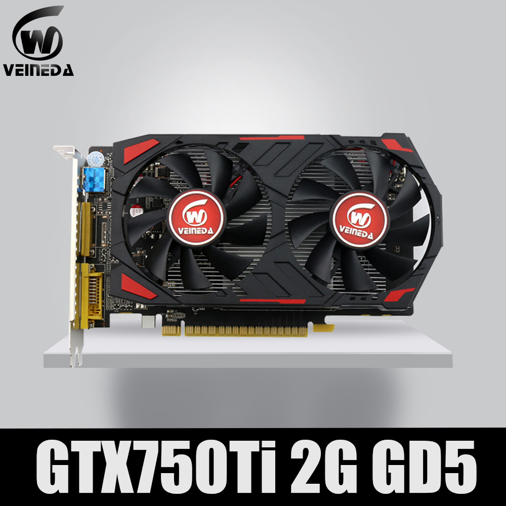 Veineda Video Card Original GPU GTX750Ti 2GB GDDR5 Graphics Cards InstantKill R7 350 ,HD6850 for nVIDIA Geforce games image
