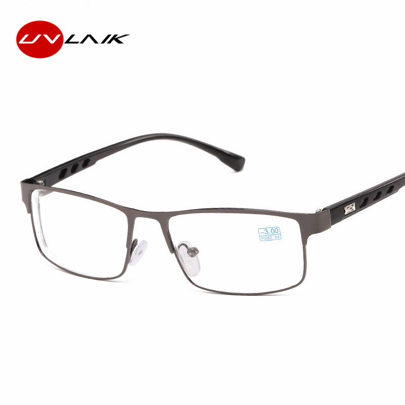 UVLAIK Finished Myopia Glasses For Women Men Metal Frame Ultralight Students Short Sight Eyewear Diopter -1.0 To 6.0