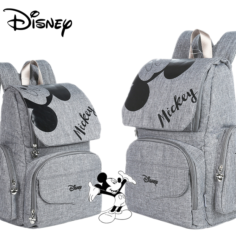 Disney Mummy Diaper Bag Maternity Nappy Nursing Bag For Baby Care Travel Backpack Designer Mickey Bags Gray And Black
