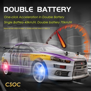 CSOC High speed 1/10 RC Racing Drifting Cars Remote Control One-click Acceleration In Double Battery Big Off-road 4WD for Adults