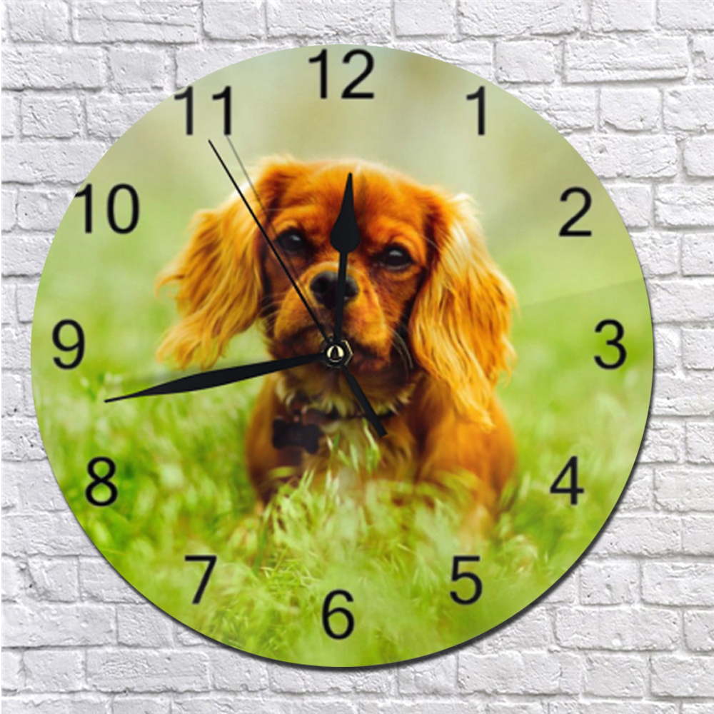 25CM Silent Clocks Wall Clocks Cute Dog Pattern Numeral Digital Dial Mute Silent Digital Clocks Battery Operated For Living Room