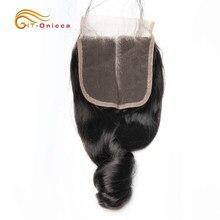 Fechamento de onda solta brasileiro do cabelo humano 4x4 fechamento do laço laço suíço 6-20 Polegada 100% fechamento de cabelo remy três parte