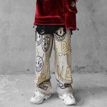 UNCLEDONJM граффити джинсы для мужчин письмо джинсовые брюки уничтожено стрейч тонкая пригонка-хоп брюки свободные Fit Жан объявление-1981