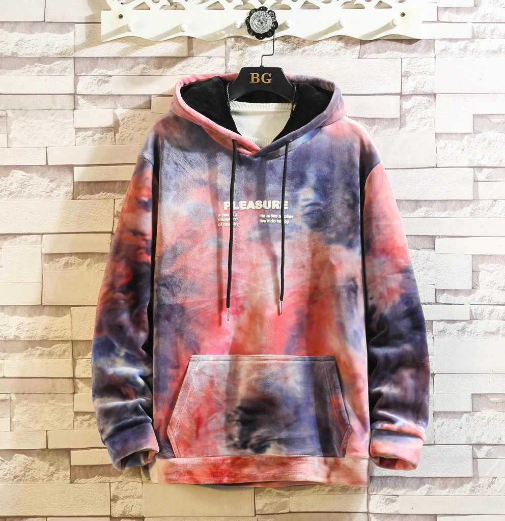 2019 패션 남자 넥타이 염료 후드 포켓 스웨터 남성 헐렁한 풀오버 탑스 가을 긴 소매 느슨한 drawstring 점퍼 후드
