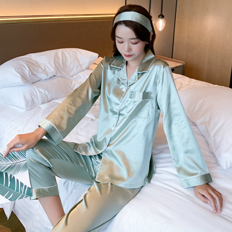 Smmoloa   Original Lazy Style Fake Flower Silk Pajamas Set For Women Spring Summer Women Sleepwear Set Doll