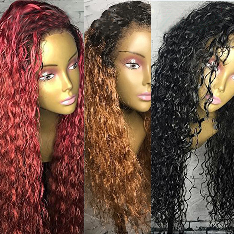 Eversilky Brazilian Remy Hair Jerry Curly Ombre Red & Blonde 13x4 Lace Front  Human Hair Wigs Three Colors Dark Roots Pre Plucke