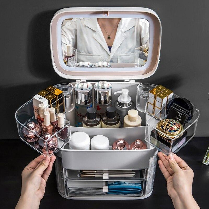 Cosmetic storage box fill light with mirror makeup box makeup box portable portable large capacity waterproof dustproof lipstick