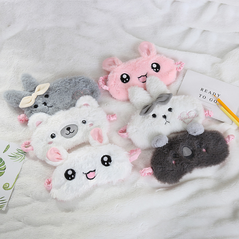 Cartoon Plush Sleeping Mask Cover Cute Rabbit Bear Eye Cover Sleep Mask Eyeshade Relax Mask For Travel Home Party Gifts