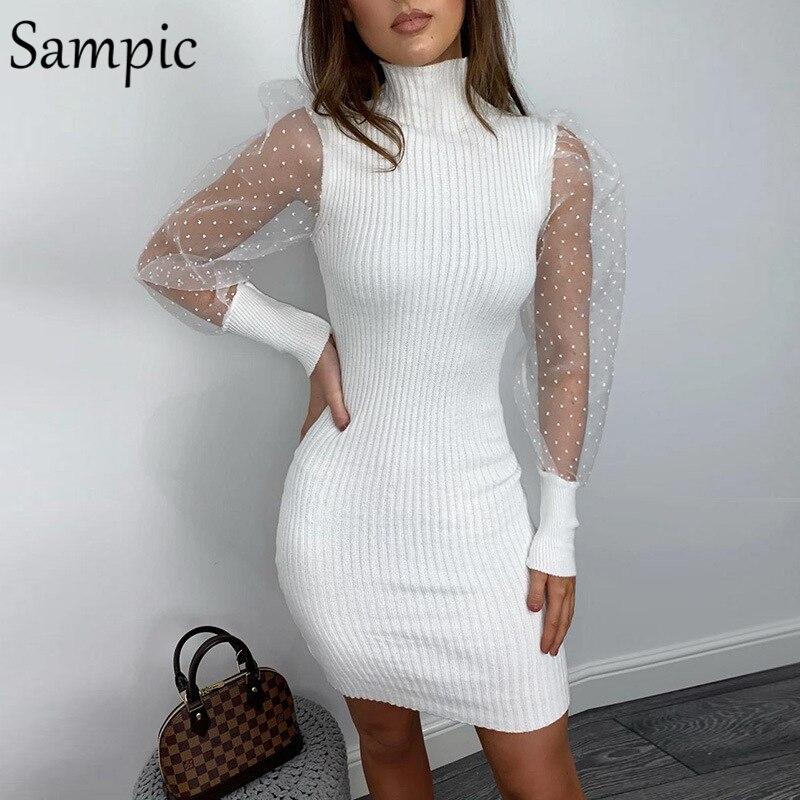 Sampic, женское платье в горошек, водолазка, повседневное, для вечеринки, пышное, Сетчатое, с длинным рукавом, облегающее, мини, вязанное, платье-...