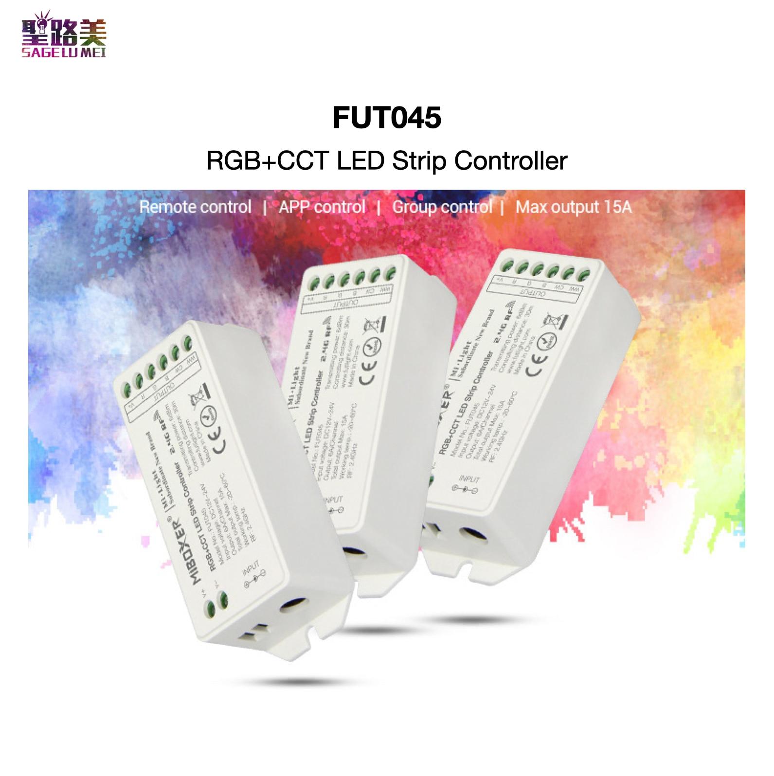FUT045 RGB + AAC controlador de tira LED APP/2,4 GHz RF/grupo Control de Auto-sincronización Auto-trans mi tting Mi boxeador Mi luz Panel táctil B8 montado en la pared; Atenuador RF remoto FUT089 de 8 zonas; Controlador led inteligente LS2 5 en 1 para RGB + CCT, tira led Miboxer