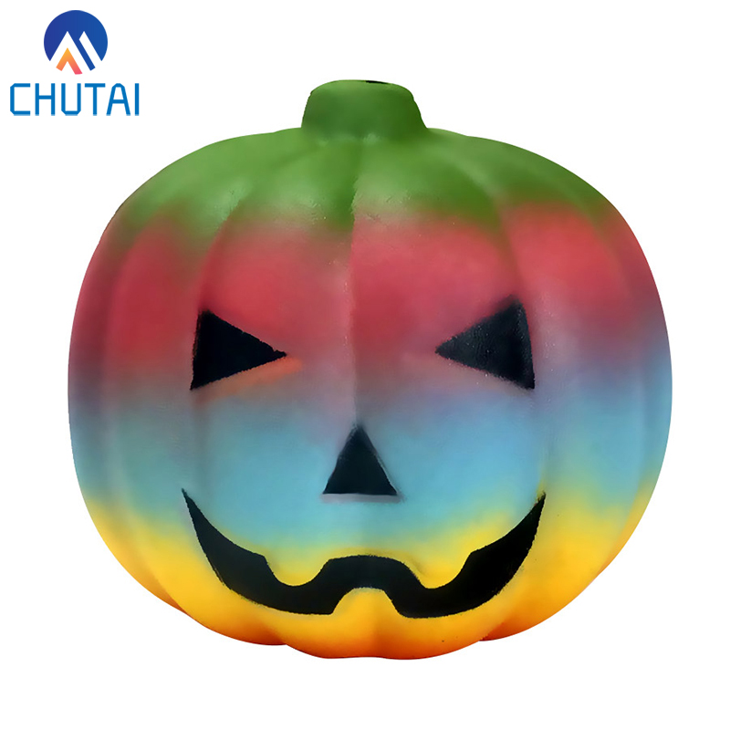 Jumbo Kawaii Halloween Colorful Pumpkins Squishy Slow Rising Squeeze Toys For Kids Baby Grownups Decompression Toys 9*9*8 CM