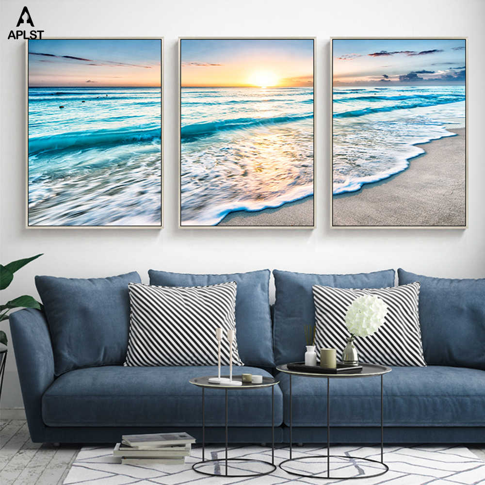 Sea View Canvas Paintings Sunrise Beach Beautiful Landscape Prints Pictures Printing Seascape Posters For Living Room Cuadros
