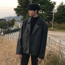New Fashion Men/'s Spring PU Leather Jacket Casual Outdoor Coat Oversize Outwear