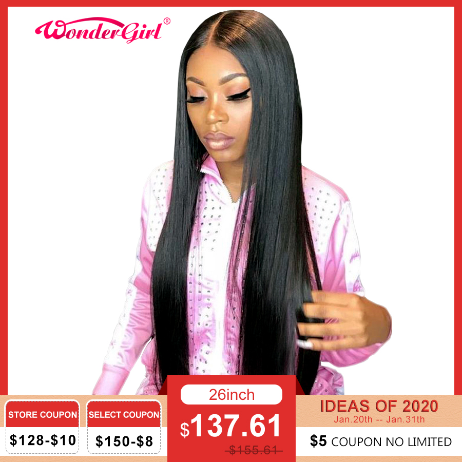 Wonder Girl 13x6 Straight Lace Front Human Hair Wigs Remy 360 Lace Frontal Wig Pre Plucked Brazilian Straight Lace Front Wig