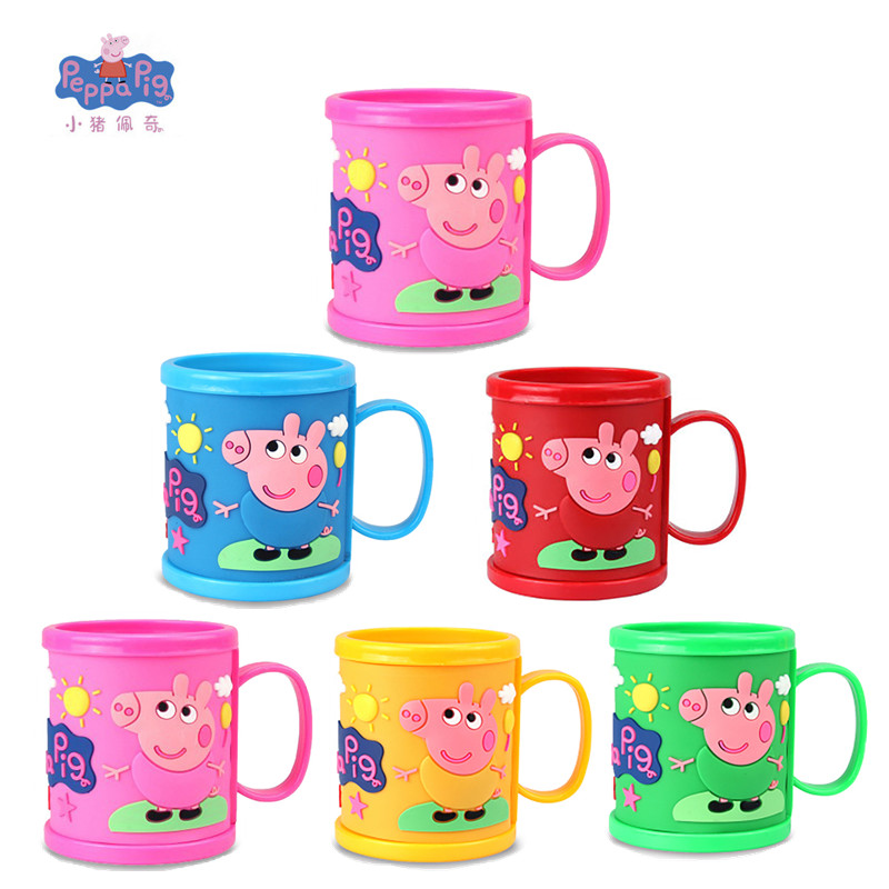 Peppa Pig Girl Little Girl Anime Cartoon Character Learning To Brush Cup Drink Cup Pink Pig Girl Toy Children's Birthday Gift image