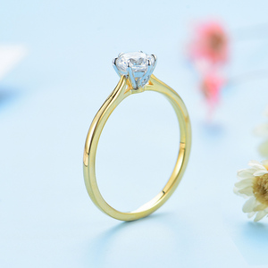 Image 5 - Kuololit Solid 10K Yellow gold Natural moissanite Rings for Women VVS D color Solitaire  set ring for anniversary wedding  585