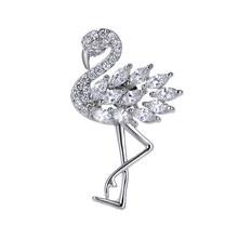 WEIMANJINGDIAN Marke 2020 Weihnachten Neue Ankunft Hohe Qualität Zirkonia Kristall Flamingo Kragen Revers Pins Nette Schmuck Geschenk