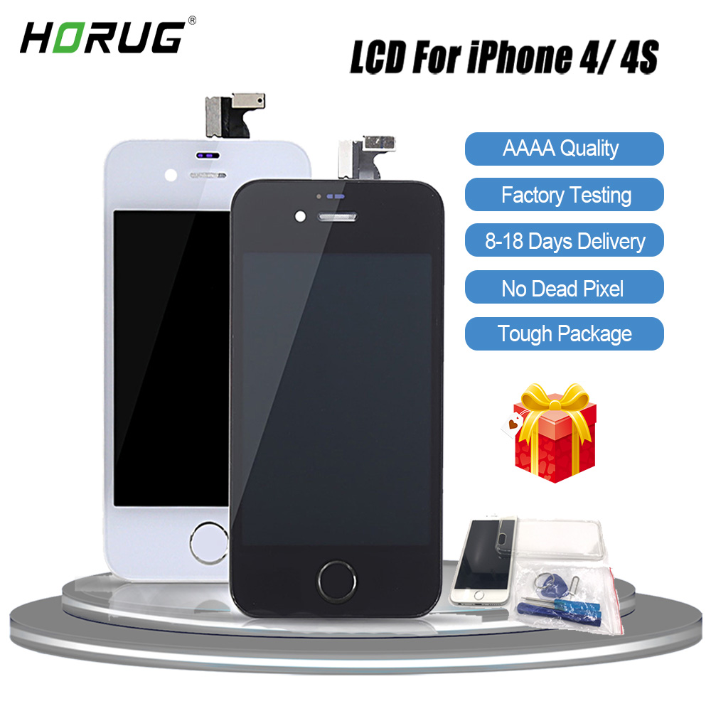מסכי LCD HORUG 100% מסך LCD AAAA המקורי עבור מסכי מגע Digitizer תצוגת LCD iPhone 4S 4 מסך LCDS החלפת iPhone 4 4S (1)