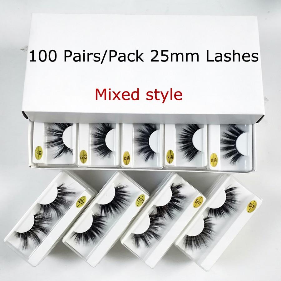25mm Lashes Wholesale 20/30/50/100 Pairs 25 Mm False Eyelash Thick Strip Mink Lashes Makeup Dramatic Long Mink Eyelashes In Bulk