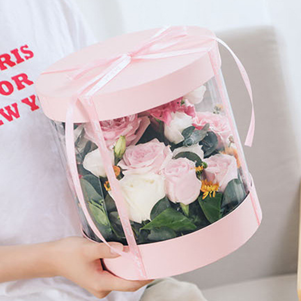 Clear PVC Flower Boxes Bouquet Florist Packaging Box Round Cake Box Clear Transparent Flower Gift Dustproof Exhibitions Gift Bag