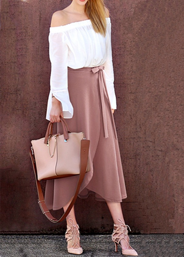 women elegant warm high waist split skirts New 2020 irregular solid color  skirt large size long straps skirts casual skirt pink