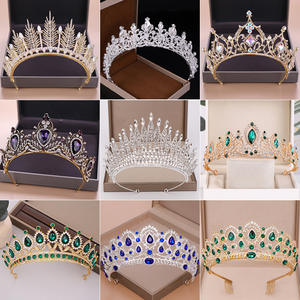 Bridal Headpiece Jewelry Tiaras Wedding-Crown Rhinestone Crystal Gold Diadem-Queen Silver-Color