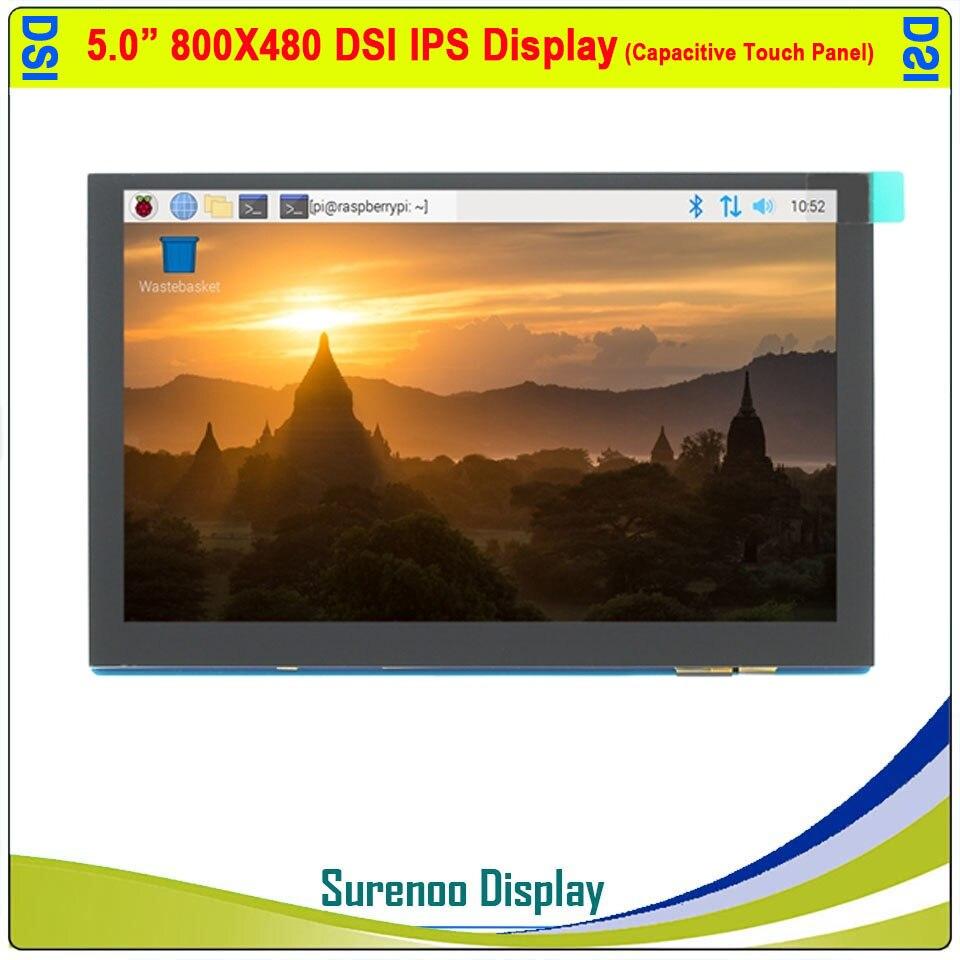 "5.0 ""5.0 polegada 800*480 ips tft mipi dsi multi-touch capacitivo painel de toque módulo lcd monitor de tela para raspberry pi"