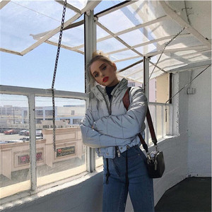 Image 2 - Fashion flash reflective women padded jacket short tops warm 2019 autumn winter solid zipper oversize loose outwear coats casual