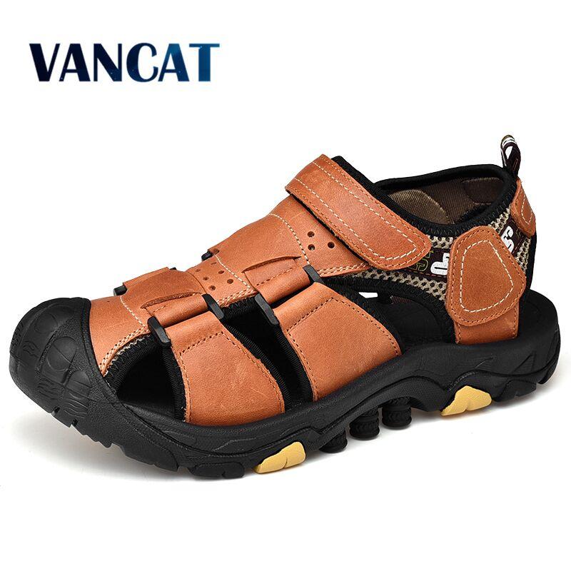 New Summer Men's Sandals Comfortable Outdoor Men Shoes Genuine Leather  Beach Sandals Soft Men Roman Sandals Big Size 38-46