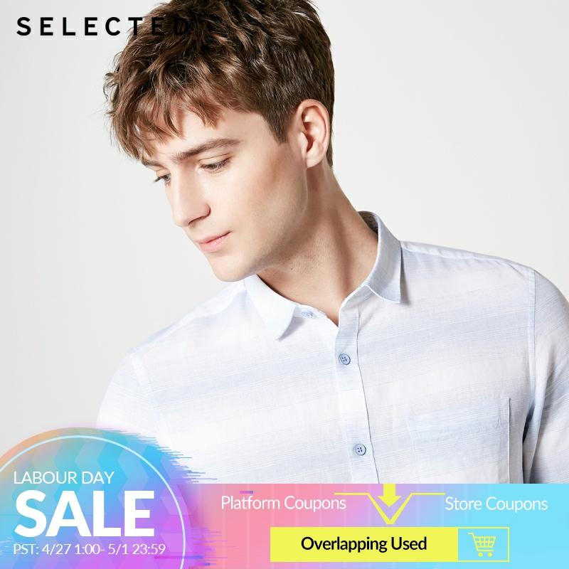 SELECTED Men's Linen Striped Trendy 3/4 Sleeves Casual Cropped Contrast Stitching Shirts S 419231507