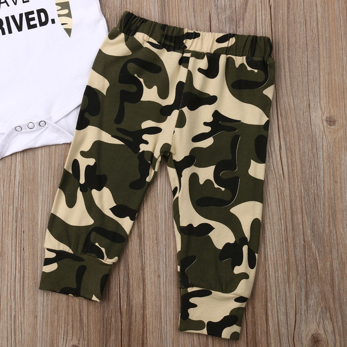 Handsome Baby Boy Camo Pants Outfits Infants Summer New White Short Short Sleeve Bodysuits Tops Army Green Elastic Trousers in Clothing Sets from Mother Kids