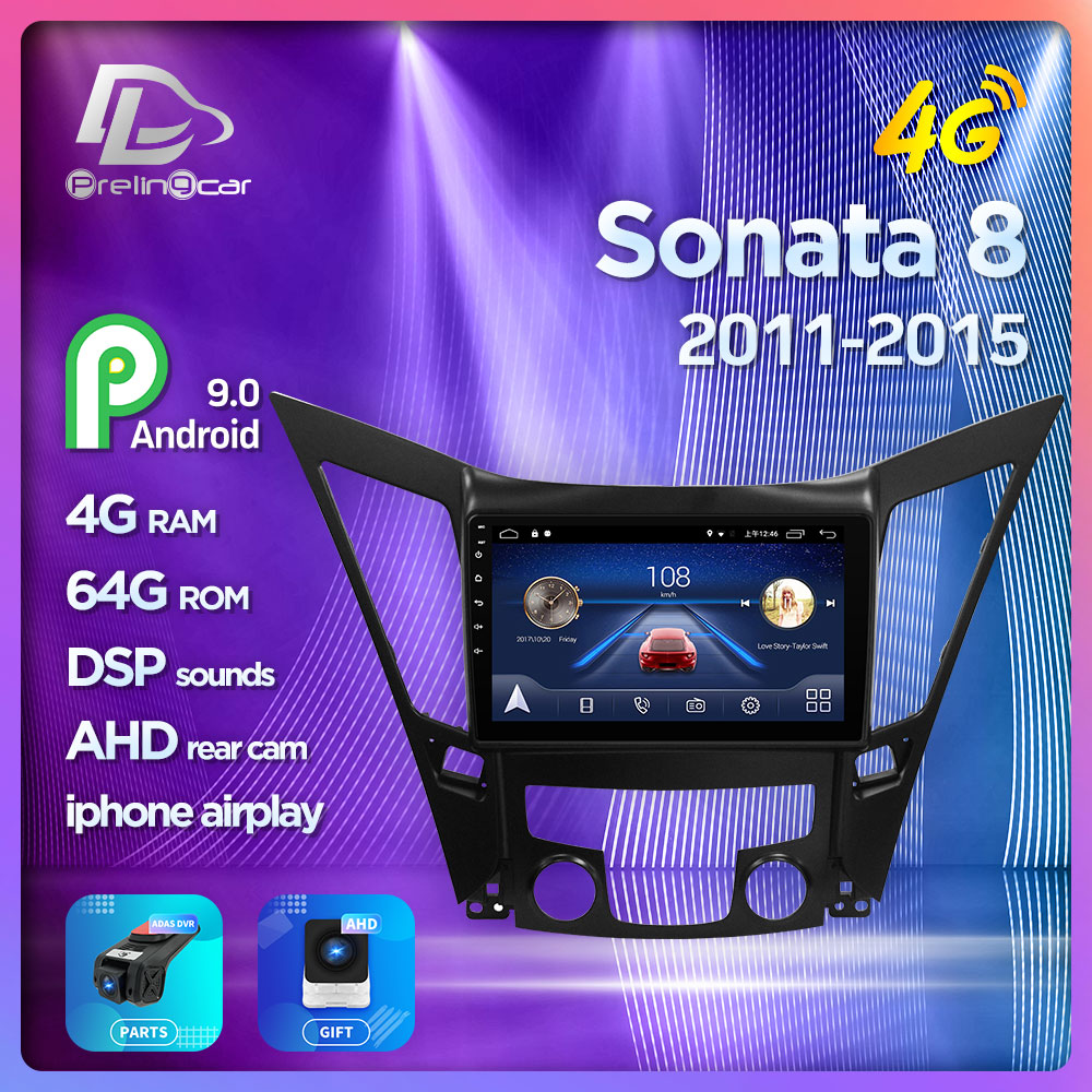 4G Lte Android 9.0 Car multimedia navigation <font><b>GPS</b></font> DVD player For <font><b>Hyundai</b></font> Sonata <font><b>I40</b></font> I45 I50 2011-2015 years IPS screen Radio image