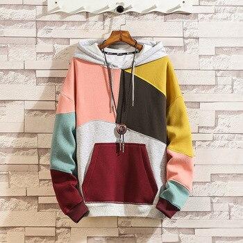 Men fashion stranger things stitching contrast color casual couple hoodies unisex loose sweatshirt hip hop coat hoody streetwear
