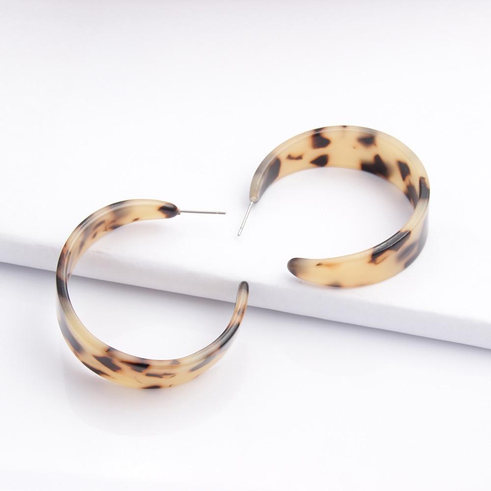 Za 2020 Leopard Acrylic Hoop Earrings for Women Fashion Round Acetate Tortoiseshell Resin Big Geometric Statement Korea Earrings