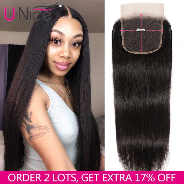 $ US $37.50 UNice Hair Brazilian Straight Hair Closure Free &Middle &Three Part Remy Human Hair Lace Closure Swiss Lace 4