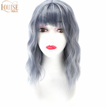 Pastel Wavy Wig With Air Bangs Women's Short Bob Purple Pink Wig Curly Wavy   Synthetic Cosplay Wig for Girl Costume Wigs