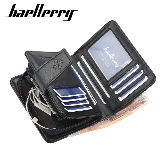 New Business Men Wallets Zipper Card Holder High Quality Male Purse New PU Leather Vintage Coin Holder Men Wallets 3