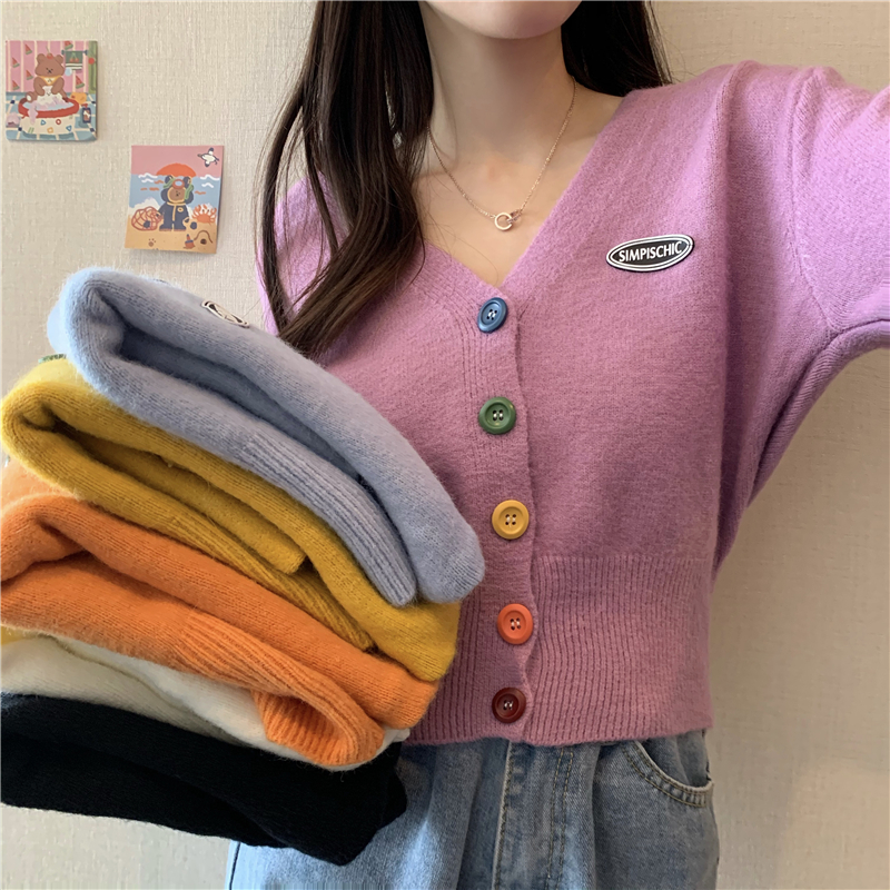 New Korean Sweet Cardigan Sweater Women Single Breasted V neck Long sleeved Knitted Jacket S 4XL Short Cardigan 6 colors
