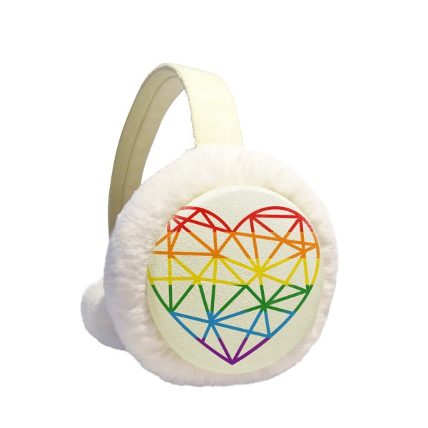 Rainbow Gay Lesbian Modelling Heart Winter Earmuffs Ear Warmers Faux Fur Foldable Plush Outdoor Gift