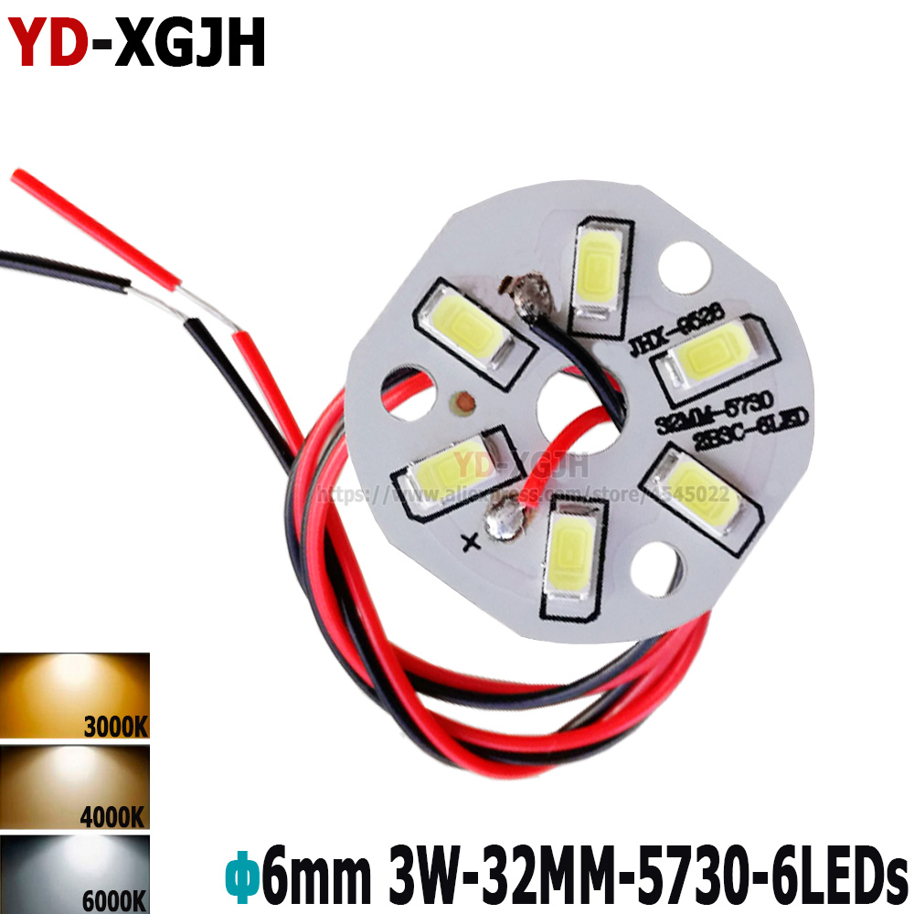 3W 32mm SMD Brightness SMD Light Board Led Lamp Panel Welded 30cm Wire Led Pcb SMD 5730 Lamp Source For Pendant Crystal Lamp