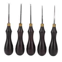 Borda de couro afiada beveller lâmina de aço ébano lidar com diy leathercraft edger aparar ferramenta couro chanfro diy corte mão artesanato