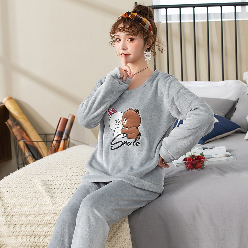 2019 Winter Thick Warm Flannel Cute Cartoon Pajama Sets for Women Long Sleeve Coral Velvet Sleepwear Suit Homewear Home Clothes 38