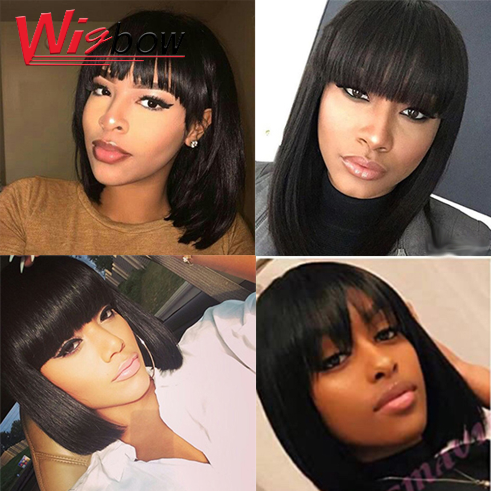 Short Straight Bob Wig In Blonde Red Colored Human Hair Wigs Fringe Wig With Bangs Peruvian Human Hair Wigs For Black Women