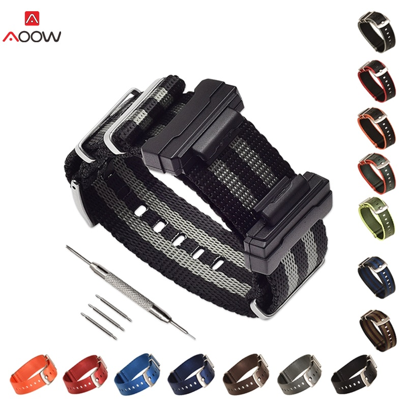 Nylon NATO Watchband for Casio G-Shock G-Shock GA-<font><b>110</b></font>/ <font><b>100</b></font>,DW-5600,GW-6900 Sliver Ring Buckle Bracelet Band Strap With Adapters image