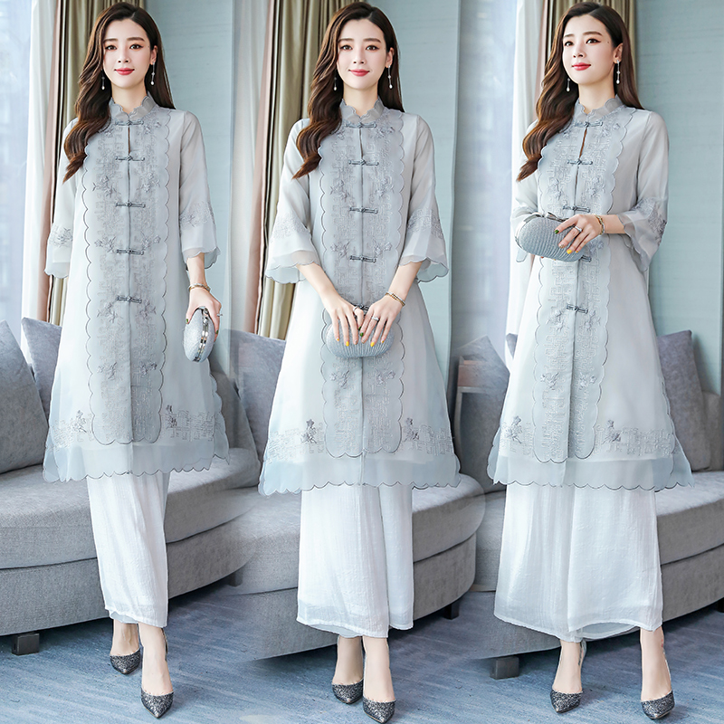 2019 Arrival Aodai Vietnam Qipao Dress For Women Traditional Clothing Ao Dai Set Top+pants Knee Length Oriental Dress For Women